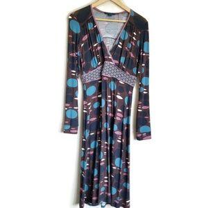 boden long sleeve knit graphic print dress sz 10